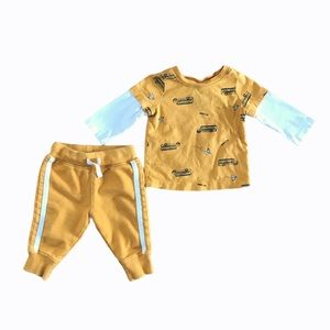 Hanna Andersson baby school bus sweatsuit outfit